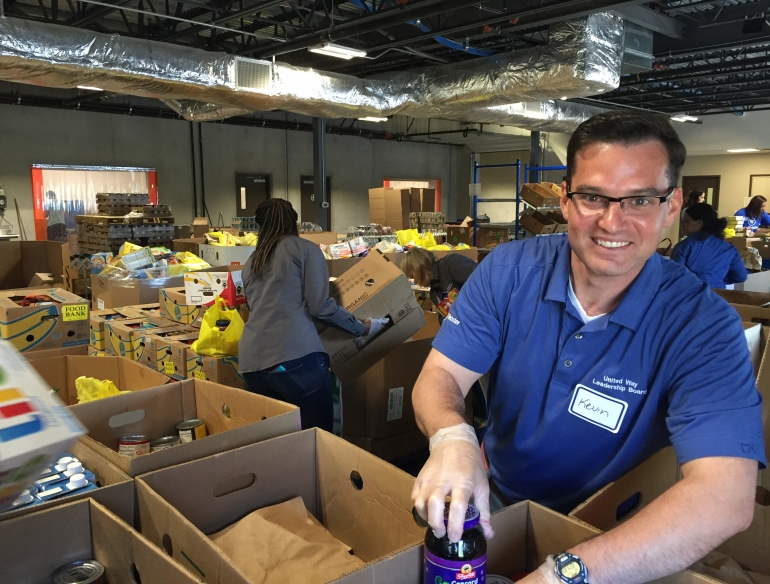Webster banker volunteers at a food bank
